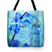 Blue Bells On Vintage 1936 Postcard Tote Bag