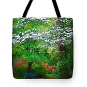 Blue Bench In Park Tote Bag