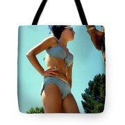 Blue Bikini Tattoo Hand Tote Bag