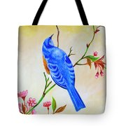Blue Bird On Cherry Blossom  Tote Bag