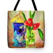 Blue Birdhouse And Red Tulips 2 Tote Bag