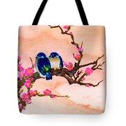Blue Birds And Plum Blossoms #48 Tote Bag