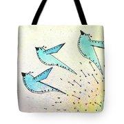 Blue Birds In Flight Tote Bag