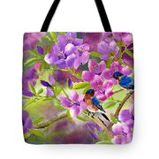 Blue Birds With Azalea Tote Bag