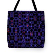 Blue Black Red Warp Abstract Tote Bag