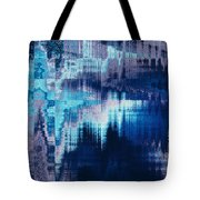blue blurred abstract background texture with horizontal stripes. glitches, distortion on the screen broadcast digital TV satellite channels Tote Bag