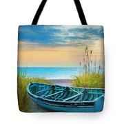 Blue Boat At Dawn Watercolors Painting Tote Bag