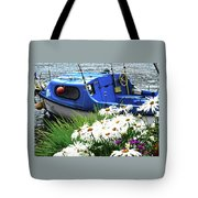 Blue Boat With Daisies Tote Bag