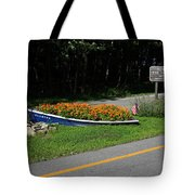 Blue Boat With Orange Flowers Tote Bag