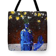 Blue Bottle And Flowers Tote Bag