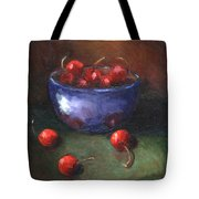 Blue Bowl And Cherries Tote Bag