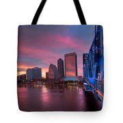 Blue Bridge Red Sky Jacksonville Skyline Tote Bag