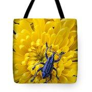 Blue Bug On Yellow Mum Tote Bag