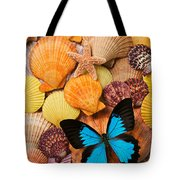 Blue Butterfly And Sea Shells Tote Bag by Garry Gay