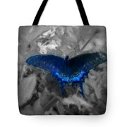 Blue Butterfly In Charcoal And Vibrant Aqua Paint Tote Bag
