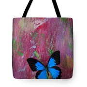 Blue Butterfly On Colorful Wooden Wall Tote Bag