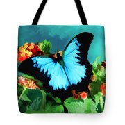 Blue Butterfly On Lantana Plant Oil Painting Tote Bag