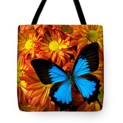 Blue Butterfly On Mums Tote Bag
