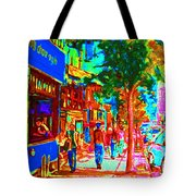 Blue Cafe In Springtime Tote Bag