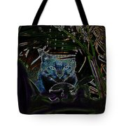 Blue Cat In The Garden Tote Bag