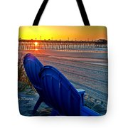 Blue Chairs Pier Sunrise Tote Bag