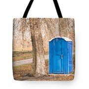 Blue Chemical Toilet In The Park Tote Bag