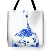 Blue  Chinese Chinoiserie Pottery Vase No 5 Tote Bag