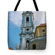 Blue Church Tower In Durnstein Tote Bag