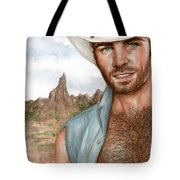 Blue Cowboy Tote Bag