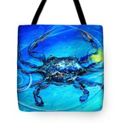 Blue Crab Abstract Tote Bag
