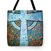 Blue Marbled Cross Tote Bag