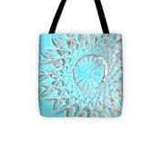 Blue Crystal Snowflake Tote Bag