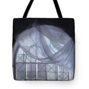 Hand-painted Blue Curtain In An Arch Window Tote Bag