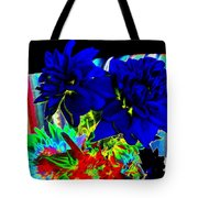 Blue Dahlias Tote Bag