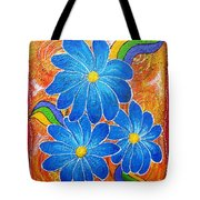 Blue Daisies Gone Wild Tote Bag