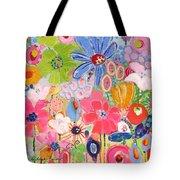 Blue Daisy Flower Garden Tote Bag