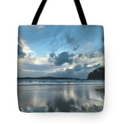 Blue Dawn Seascape With Cloud Reflections Tote Bag