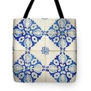 Blue Diamond Flower Tiles Tote Bag
