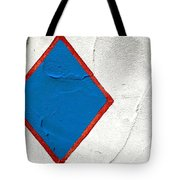 Blue Diamond Red Square White Wall  Tote Bag
