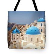 Blue Domed Churches Santorini Tote Bag