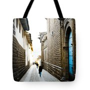 Blue Door In Cusco Tote Bag by Darcy Michaelchuk
