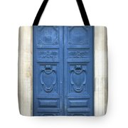 Blue Door In Paris Tote Bag