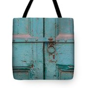 Blue Door Of Cortona Tote Bag by David Letts