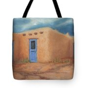 Blue Doors In Taos Tote Bag by Jerry McElroy