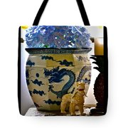 Blue Dragon And Hydrangeas Tote Bag