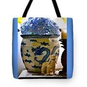 Blue Dragon And Hydrangeas Tote Bag