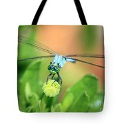 Blue Dragonfly And Bud Tote Bag