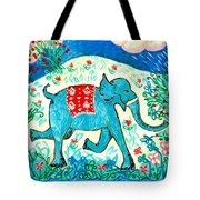 Blue Elephant Facing Right Tote Bag by Sushila Burgess