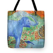 Blue Elephant Squirting Water Tote Bag