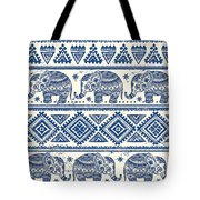 Blue Elephant With Ornaments Design Tote Bag